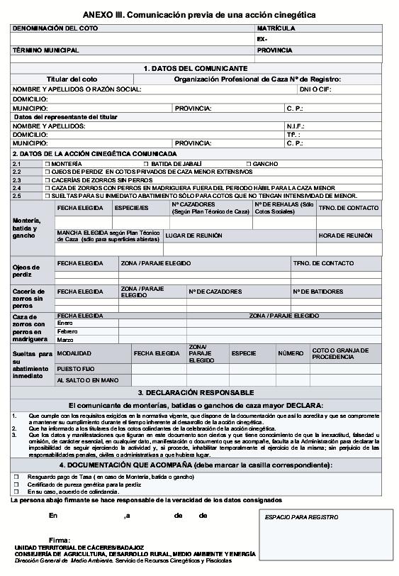Anexo III - Veda Caza Extremadura